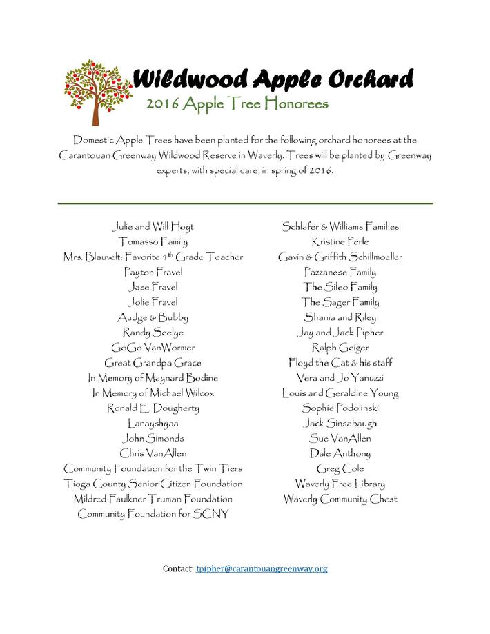 Click on the image to download our Apple Orchard Honorees!